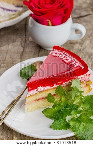 Fresh Strawberries Cake With Jelly Wooden Background