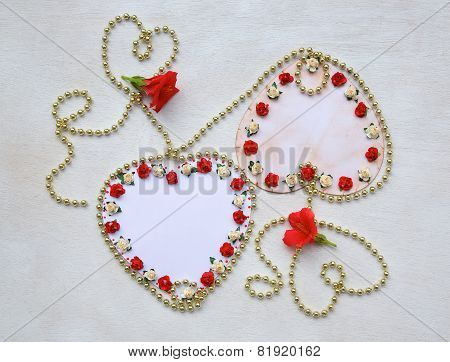 Two Paper Hearts With Free Space For A Text