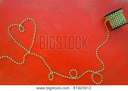 Valentine's Day Background On A Red Wooden Surface.