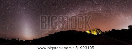 the Panorama Milky Way rises over the mountain in Thailand.Long exposure photograph.