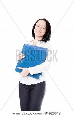 Young Office Woman With Document Folders On White Background