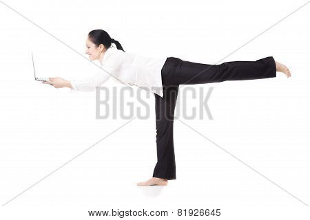 Young Corporate Worker In Yoga Pose Holding Laptop On White Background