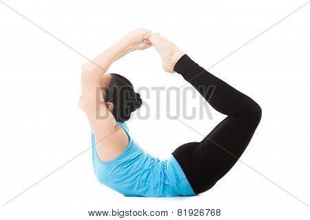 Yogi Female In Yoga Asana Dhanurasana
