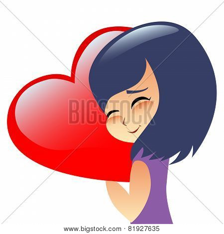 Girl Teen Hugs Heart Pillow