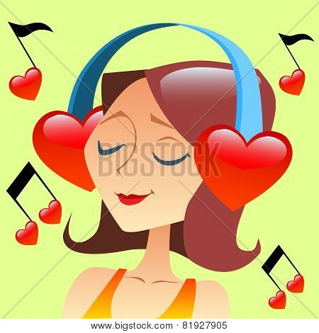 Girl Listening To Music With Headphones In The Form Of A Red Hea