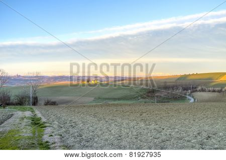 Monferrato winter panorama, sunrise. Color image