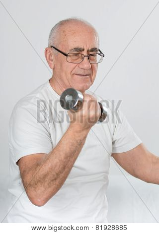 Old Sportsman With Dumbbells