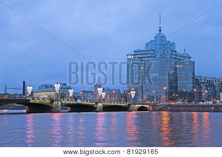 Saint-Petersburg. Russia. Sampsonievsky bridge and residential complex Aurora