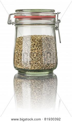 Rye in a jar on a white background