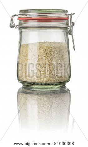 Basmati rice in a jar on a white background