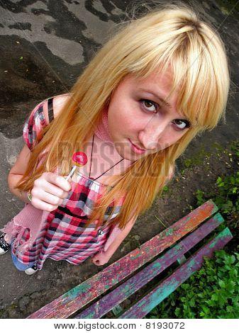 Mädchen mit ein lollipop