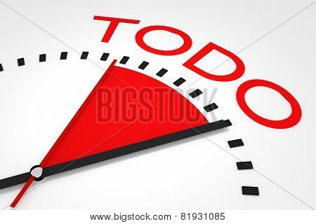 Clock With Red Seconds Hand Area Todo Illustration