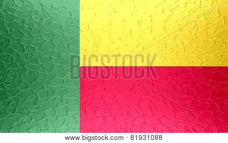 Benin flag on metallic metal texture