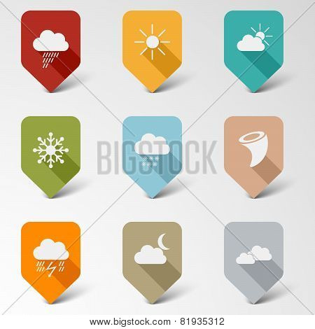 Colorful Set Web Retro Pointers For Weather