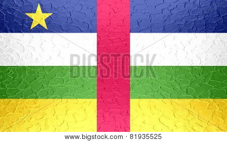 Central African Republic flag on metallic metal texture