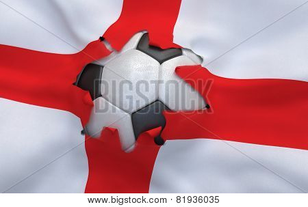 The Hole In The Flag Of England And Soccer Ball