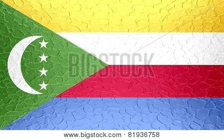 Comoros flag on metallic metal texture
