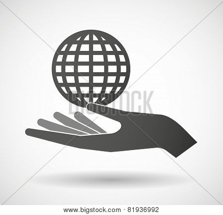 Hand Giving A World Globe