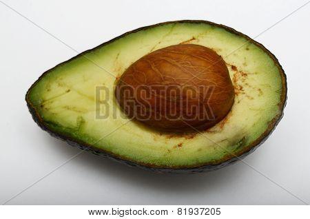 Fresh Half Avocado On White Background