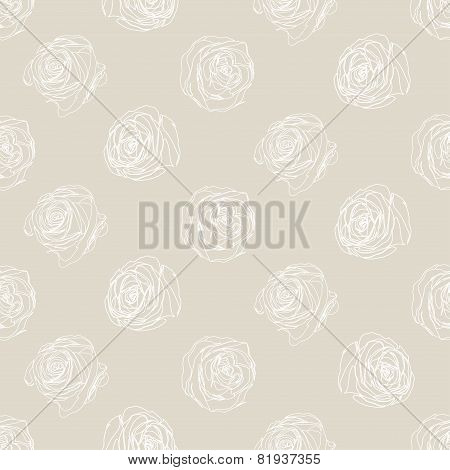 Pattern With Roses. Floral Vector Monochromatic Pattern.