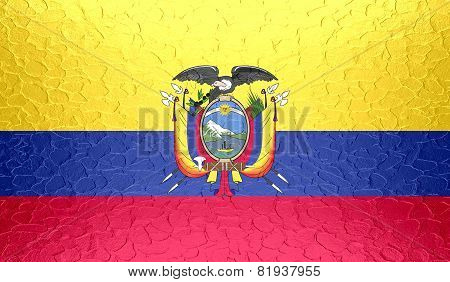 Ecuador flag on metallic metal texture