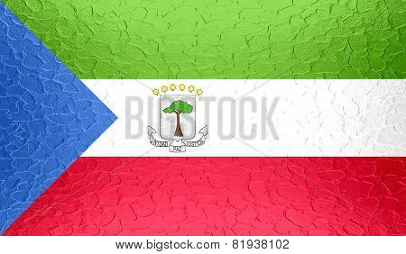 Equatorial Guinea flag on metallic metal texture