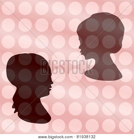 Two heads silhouettes on vintage polka dot gradient background