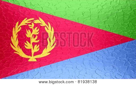 Eritrea flag on metallic metal texture