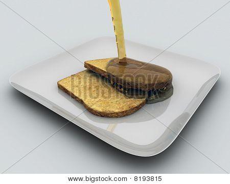 Baken bread with honey