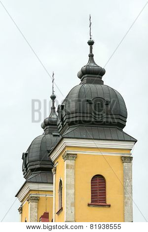Towers Of The Cathedral City Of Trencin In Slovakia