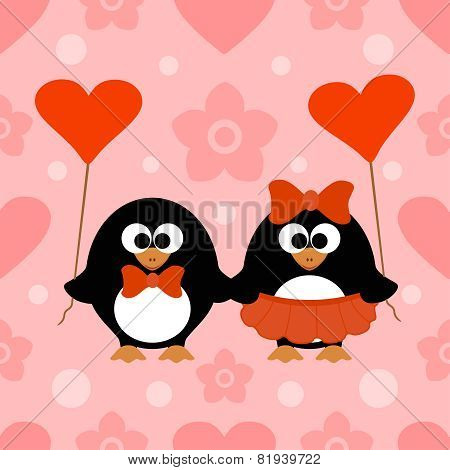 Valentines day seamless background with penguin