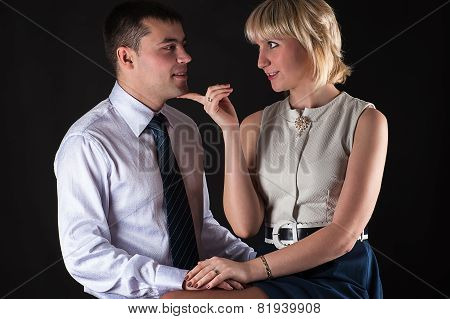 attractive woman seduces a man