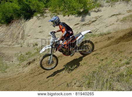 Sibiu, Romania - June 12:  Tomer Shemersh With A Ktm Exc Motorcycle During A Training Session.