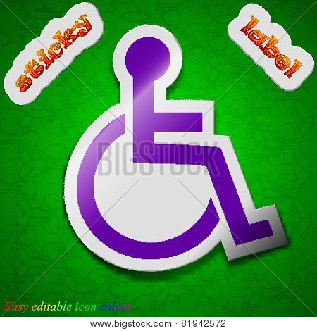 Disabled Icon Sign. Symbol Chic Colored Sticky Label On Green Background. Vector