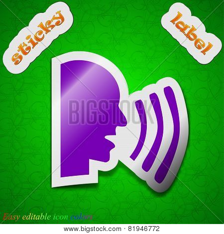 Talking Icon Sign. Symbol Chic Colored Sticky Label On Green Background. Vector