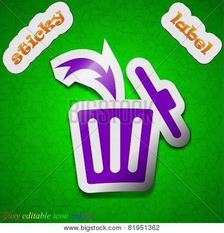 Recycle Bin Icon Sign. Symbol Chic Colored Sticky Label On Green Background. Vector