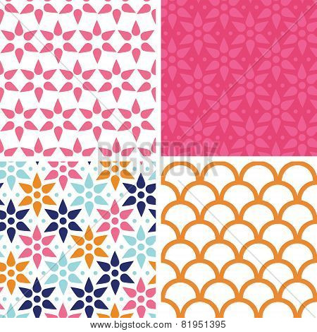 Vector abstract colorful stars set of four marching repeating patterns