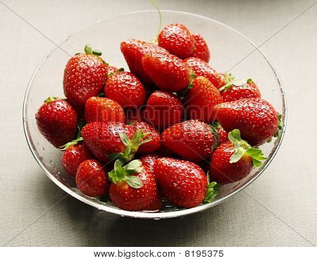 Strawberries On The Glass Plate