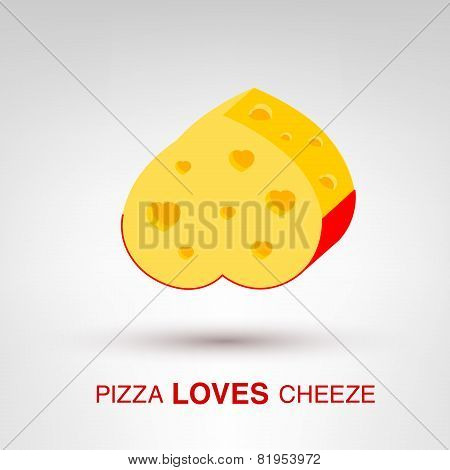 Valentine's Day creative concept - Pizza Loves Cheeze