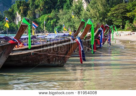 Traditional Thai Boat On Railay Beach