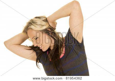 Woman Dark Dress Hands In Hair
