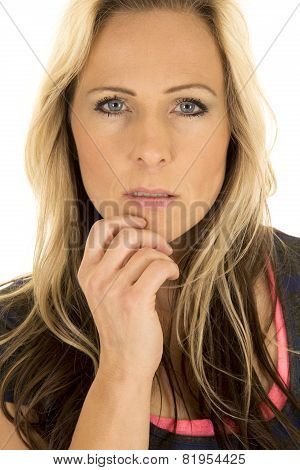 Woman Head Close Hand On Chin Looking Serious