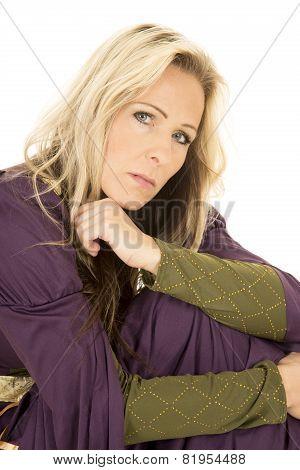 Woman In Purple Dress Looking Arm Under Chin