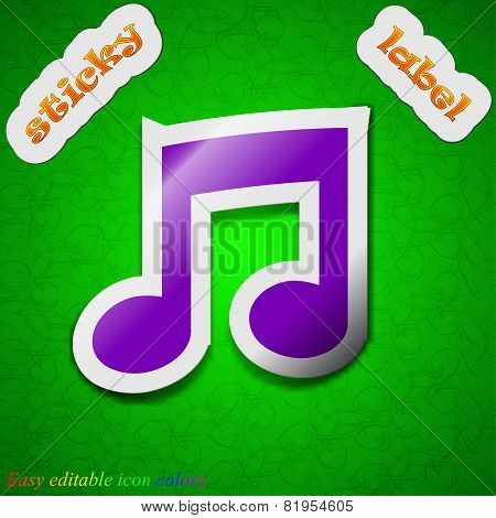 Music Note Icon Sign. Symbol Chic Colored Sticky Label On Green Background. Vector