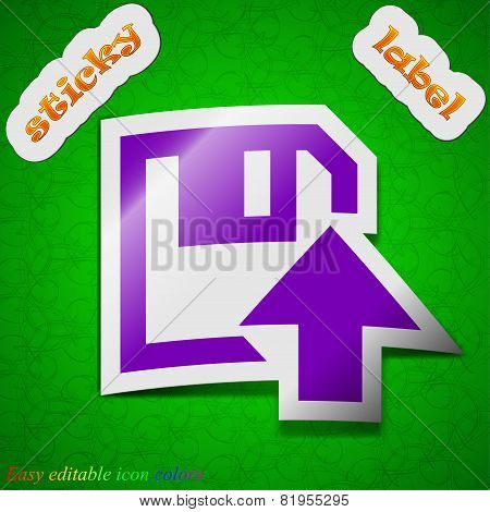 Floppy Icon Sign. Symbol Chic Colored Sticky Label On Green Background. Vector