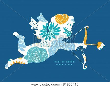 Vector blue and yellow flowersilhouettes shooting cupid silhouette frame pattern invitation greeting