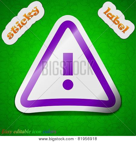 Attention Caution Icon Sign. Symbol Chic Colored Sticky Label On Green Background. Vector