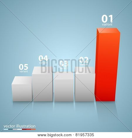 Data 3d growth chart.