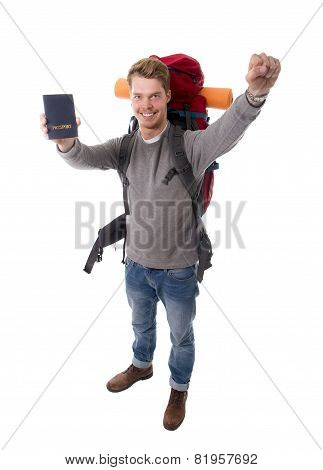 Young Backpacker Tourist Holding Passport Carrying Backpack Ready For Travel