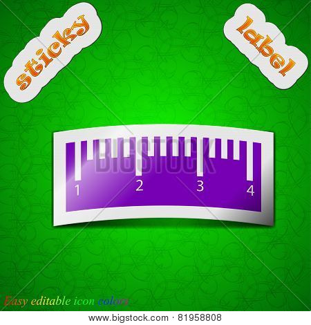 Ruler Icon Sign. Symbol Chic Colored Sticky Label On Green Background. Vector